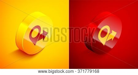 Isometric Map Pin Icon Isolated On Orange And Red Background. Navigation, Pointer, Location, Map, Gp