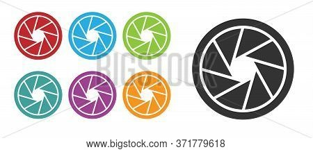 Black Camera Shutter Icon Isolated On White Background. Set Icons Colorful. Vector Illustration