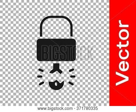Black Key Broke Inside Of Padlock Icon Isolated On Transparent Background. Padlock Sign. Security, S