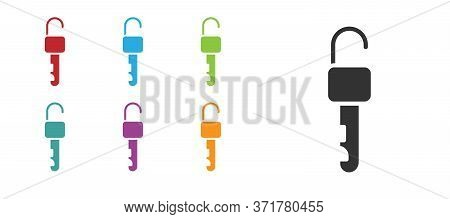 Black Unlocked Key Icon Isolated On White Background. Set Icons Colorful. Vector Illustration
