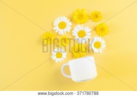 White Cup And Camomile Flowers On A Yellow Background. Flowers Pour Out Of A Cup. Surreal Compositio