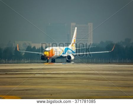 Don Muang Bangkok Thailand-12 January 2019:the Aircraft Of Nok Airlines Is Take-off From Don Mueang