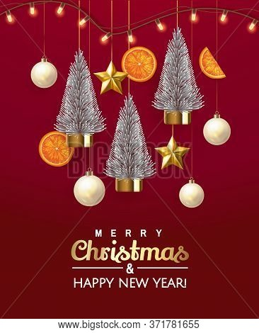 Vertical Merry Christmas Party Invitation, Greeting, Celebrate Winter Holiday Party Invitation With