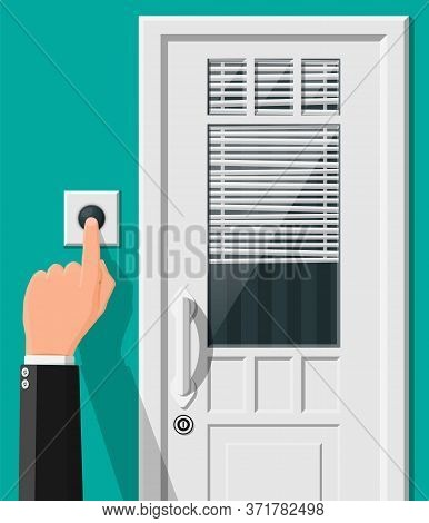 Hand Push The Bell Button At The Front Door. Finger Presses The Doorbell Switch. Person Rings In The