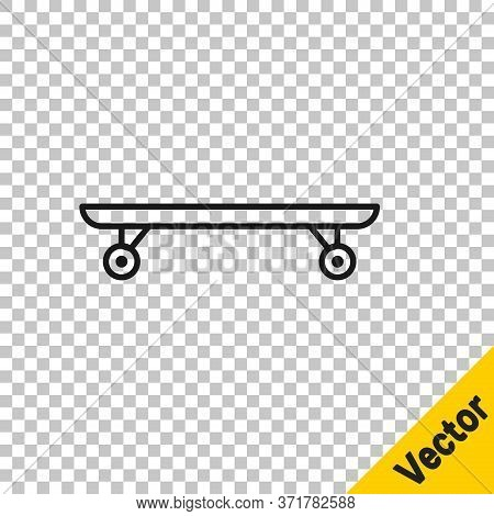 Black Line Longboard Or Skateboard Cruiser Icon Isolated On Transparent Background. Extreme Sport. S