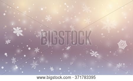 Blizzard. Snowfall Christmas Background. Flying Snow Flakes On Winter Sky Background. The Sun Shines