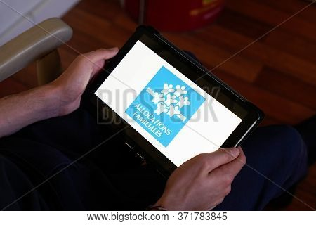 Bordeaux , Aquitaine / France - 03 03 2020 : Caisse D'allocations Familiales Caf Logo Sign On Screen