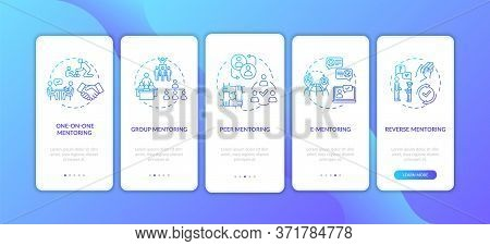Types Of Coaching Onboarding Mobile App Page Screen With Concepts. Group And Peer To Peer Teaching W