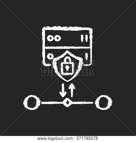 Ssl Encryption Chalk White Icon On Black Background. Website Safety, Cybersecurity. Reverse Proxy Fo