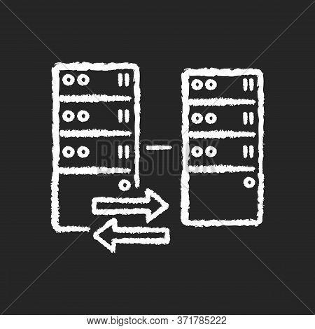 Reverse Proxy Chalk White Icon On Black Background. Website Host Server Protection, Modern Cybersecu