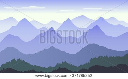 Beautiful Blue Gradient Mountain Landscape With Fog And Forest. Sunrise And Sunset In Mountains. Sun
