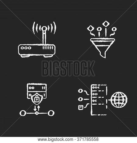 Cybersecurity Chalk White Icons Set On Black Background. Gateway, Content Filtering, Ssl Encryption