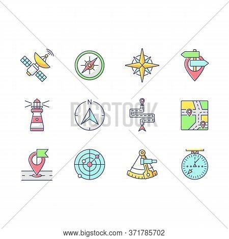 Navigation Rgb Color Icons Set. Land, Marine And Aeronautical Navigating. Different Geographical Pos