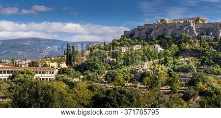 Cityscape Of Athens. The Old Town Of Athens And The Parthenon Temple Of The Acropolis