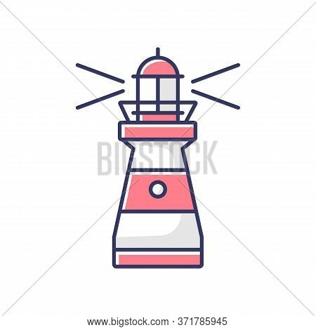 Lighthouse Rgb Color Icon. Traditional Maritime Navigational Landmark. Warning Sign For Sailors. Tal