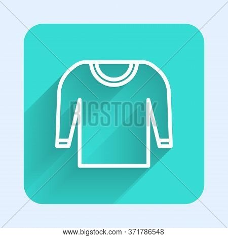 White Line Sweater Icon Isolated With Long Shadow. Pullover Icon. Green Square Button. Vector Illust