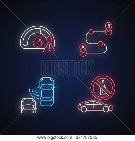 Driving Risks Neon Light Icons Set. Traffic Dangers Signs With Outer Glowing Effect. Speed Limit, Bl