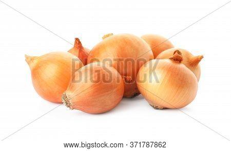 Fresh Yellow Onion Bulbs Isolated On White