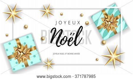 Christmas Noel Modern White Background With Gifts Box With A Gold Bow. Template For Postcard, Bookle