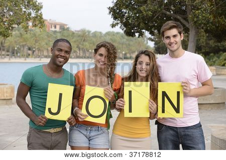 Diverse group holding join sign