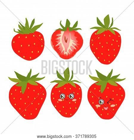 Collection Of Vector Illustrations Of Whole And Half Strawberry Berries In A Flat Style. Bright Stra