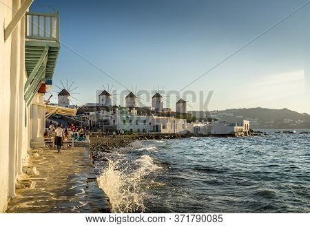Mykonos, Greece - Oct 14, 2019.  Scenic View Of Famous And Traditional Greek Windmills In Mykonos Is