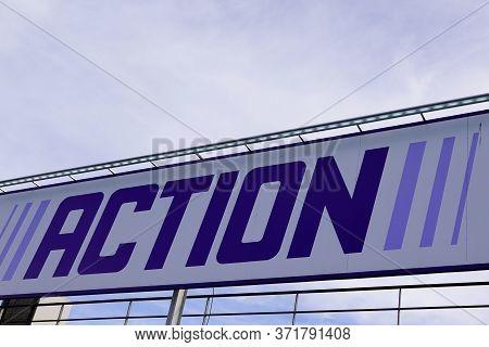 Bordeaux , Aquitaine / France - 10 30 2019 : Action Store Sign Superstore Logo Dutch Discount Store-