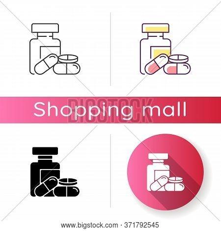 Pharmacy Icon. Pills In Bottles. Medications Prescription. Pharmacology Industry. Shopping Mall Drug