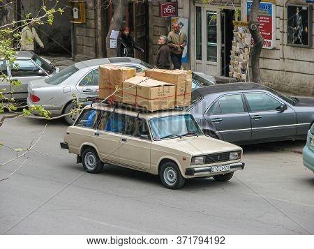 Azerbaijan, Baku - April 30, 2007: Classic Soviet Vintage Sedan Car Lada Vaz 2104 With Trunk That Is