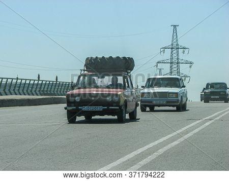 Azerbaijan, Baku - May 02, 2007: Classic Soviet Vintage Sedan Car Lada Vaz 2106 With Trunk That Is O