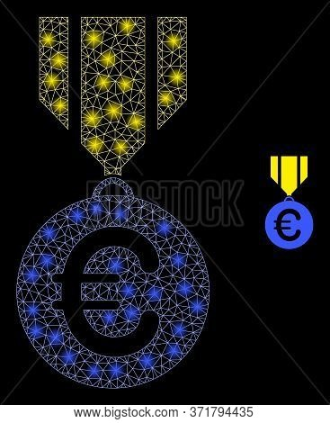 Glowing Web Net Euro Medal With Lightspots. Illuminated Vector 2d Model Created From Euro Medal Icon