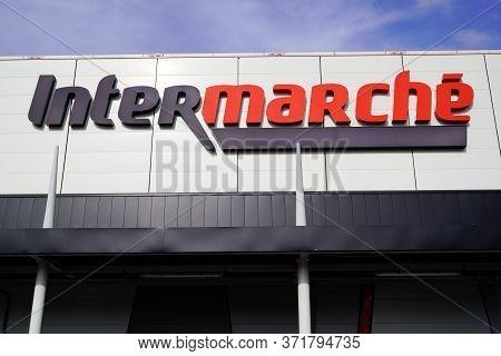 Bordeaux , Aquitaine / France - 10 23 2019 : Logo Sign Shop Intermarché French European Supermarket