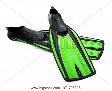 Two Flippers For Diving Of Light Green Color With Water Drops Isolated On White Background