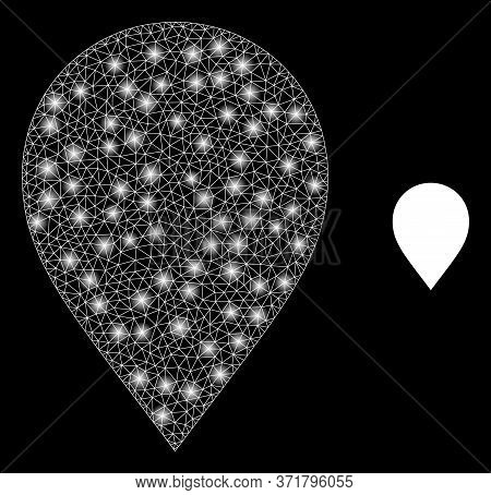 Glare Web Mesh Map Marker With Lightspots. Illuminated Vector 2d Constellation Created From Map Mark