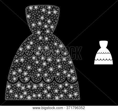 Shiny Web Mesh Bride Dress With Lightspots. Illuminated Vector 2d Model Created From Bride Dress Ico
