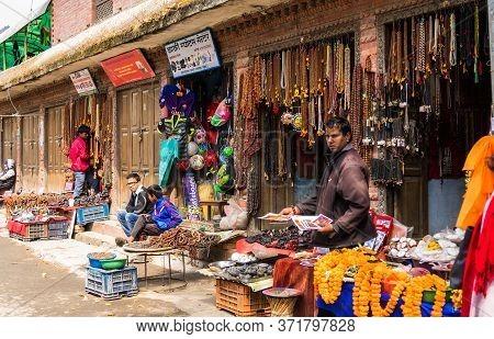 Rishikesh, India - Circa March 10, 2017. Goods In Souvenir Shop On The Street Of Rishikesh.