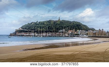 San Sebastian, Spain. Sept 11, 2017. La Concha Beach With View On Of The Mount Urgul - On Top Of It