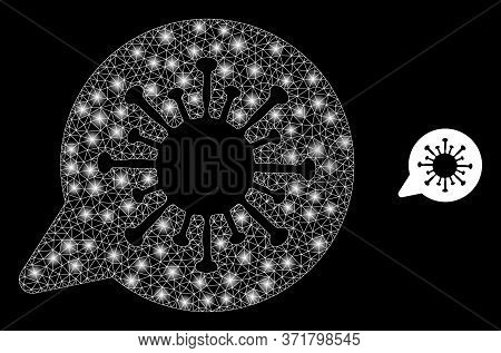 Shiny Web Network Viral Message With Lightspots. Illuminated Vector 2d Constellation Created From Vi