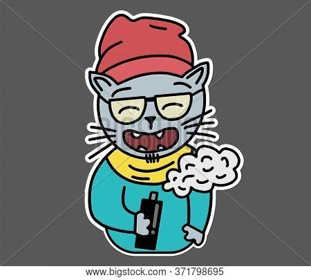 Hipster Cat In Glasses, Clothes, Hat, Scarf, And Sweater Is Vaping And Laughing. Flat Style Sticker