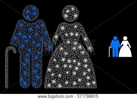Bright Web Net Grandparents Couple With Glowing Spots. Illuminated Vector 2d Constellation Created F