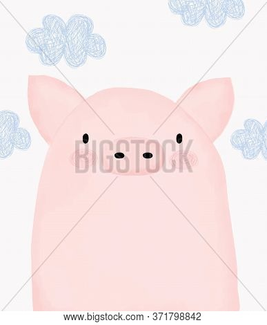 Sweet Little Pig. Lovely Vector Illustration With Pink Piggy Isolated On A White Background. Farm An