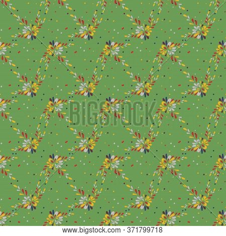 Floral Zig Zag Seamless Vector Pattern On Green. Decorative Girly Surface Print Design For Fabrics,
