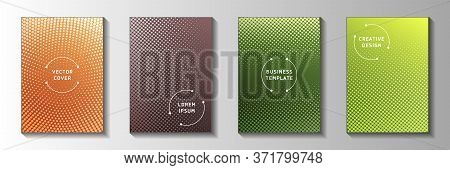 Elegant Dot Faded Screen Tone Cover Templates Vector Collection. Medical Notebook Perforated Screen