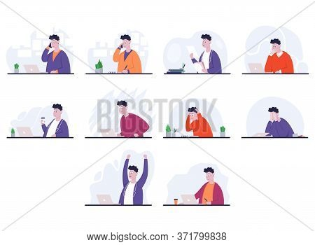 Set Of Poses Businessman With Different Emotions And Expressions. Sideview. Color Vector Cartoon Ill