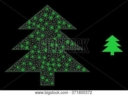 Glowing Web Mesh Fir Tree With Lightspots. Illuminated Vector 2d Constellation Created From Fir Tree