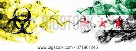 Syria, Syrian Arab Republic, Opposition Quarantine. Coronavirus Covid-19 Lockdown. Smoky Mystic Flag