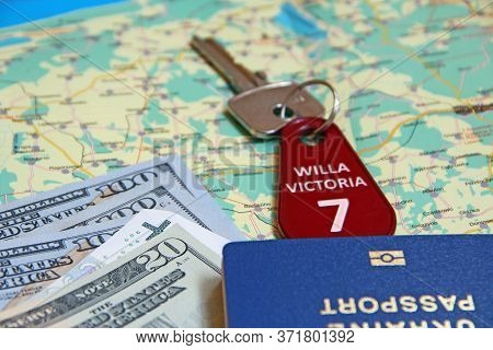 Money Passport And Villa Keys. Travel Concept. Things For Travel. Everything You Need For Vacation.