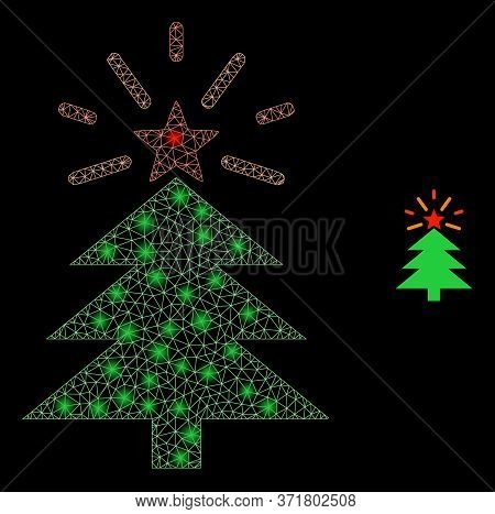 Glare Web Network Shine Christmas Tree With Glowing Spots. Illuminated Vector 2d Model Created From