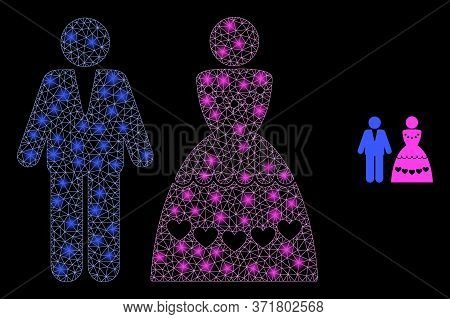 Glowing Web Network Marriage Couple With Glowing Spots. Illuminated Vector 2d Model Created From Mar