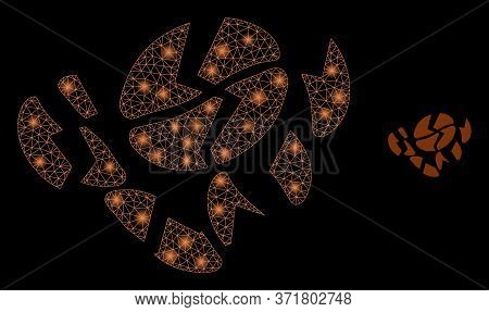 Glowing Web Net Coffee Bean Destruction With Lightspots. Illuminated Vector 2d Model Created From Co